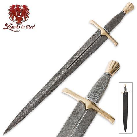 steel sword legends in steel wire wrapped damascus steel