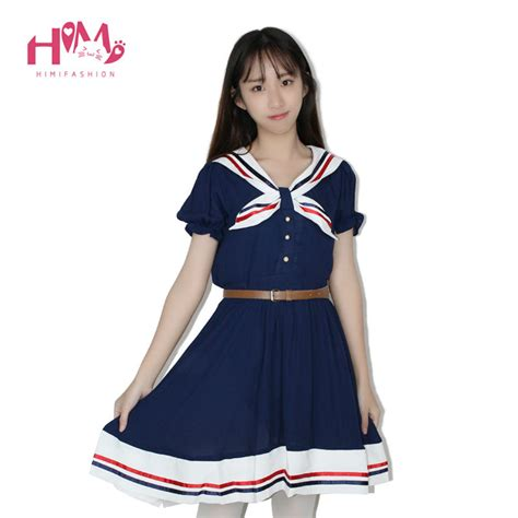 2pcs Japanese Style Dress japanese fashion vivi preppy princess dress harajuku sailor collar navy dress pleated bow