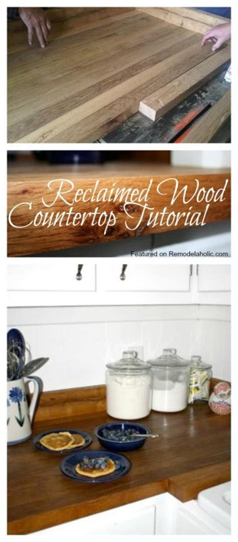 diy wood countertop tutorial remodelaholic country kitchen with diy reclaimed wood