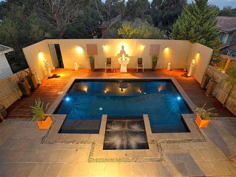 pool area ideas geometric pool design using slate with decking ground