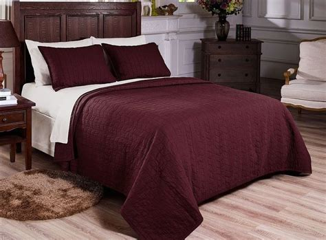 vintage washed 100 cotton 3pcs solid burgundy quilt bedspread coverlet king pinterest