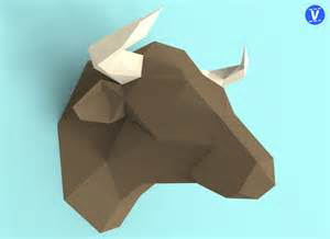 3d paper template bull papercraft pdf pack 3d paper sculpture template