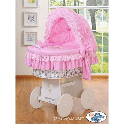 culle in vimini neonato vimini orsacchiotto rosa bianco