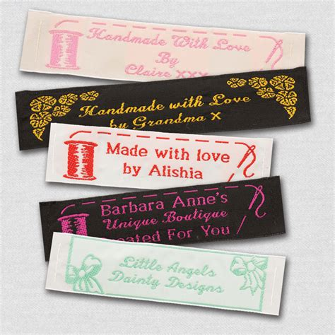Personalized Sewing Labels Handmade - 50 personalized sewing labels 1 wide 100 woven