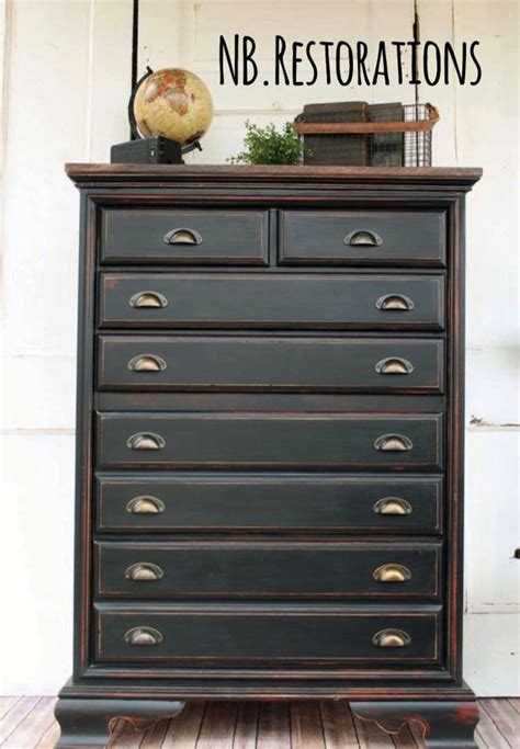 Black Pepper Chalk Style Paint Dresser   General Finishes