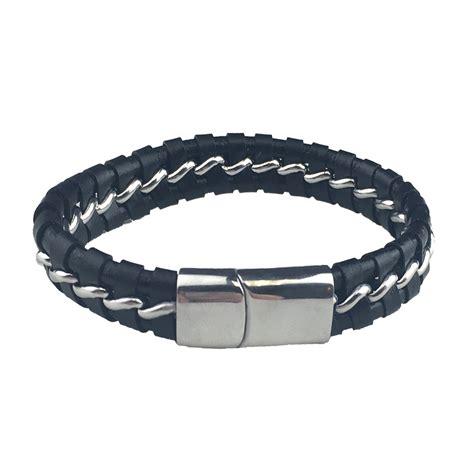 Braided Chain Chain rock shop leather braided chain bracelet black