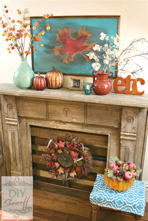 Metallic Home Decor autumn warmth red and turquoise fall manteldiy show off
