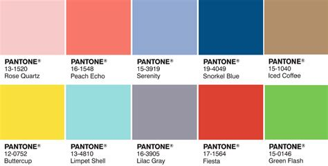 pantone palette 2016 color trends pantone s two colors of the year quartz and serenity