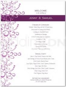 one page wedding program template best template idea