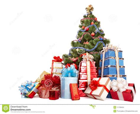christmas tree and group gift box stock images image