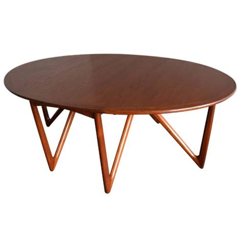 Oval Dining Table With Leaf Kurt 216 Stervig Niels Kofoed Drop Leaf Teak Oval Dining Table Denmark 1960s At 1stdibs