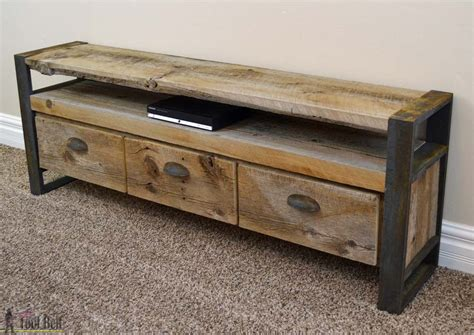 rustic media console rustic media console table tool belt