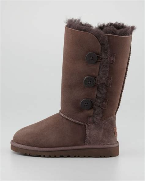 ugg bailey triplet button boot chocolate brown youth