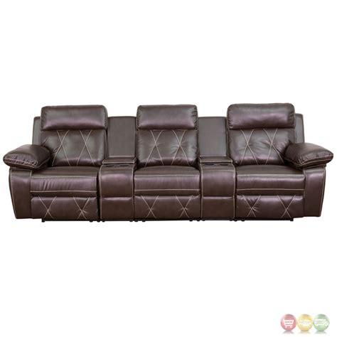 Reclining Theatre Seats by Reel Comfort 3 Seat Reclining Brown Leather Theater Seats