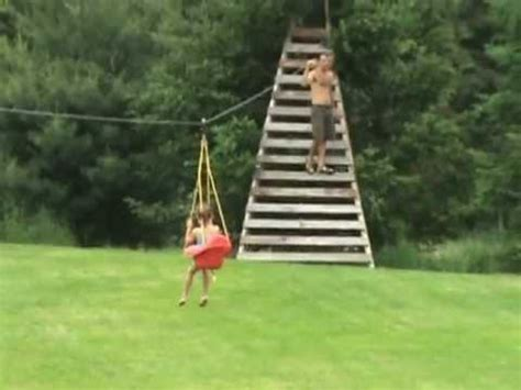 backyard zip line without trees 300 foot zip line from house to tree pretty fast must see