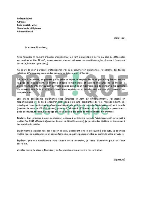 lettre de motivation pour un emploi d assistante de vie