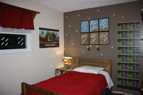 the most awesome minecraft bedroom makeover one wall painted brown with punched out paper