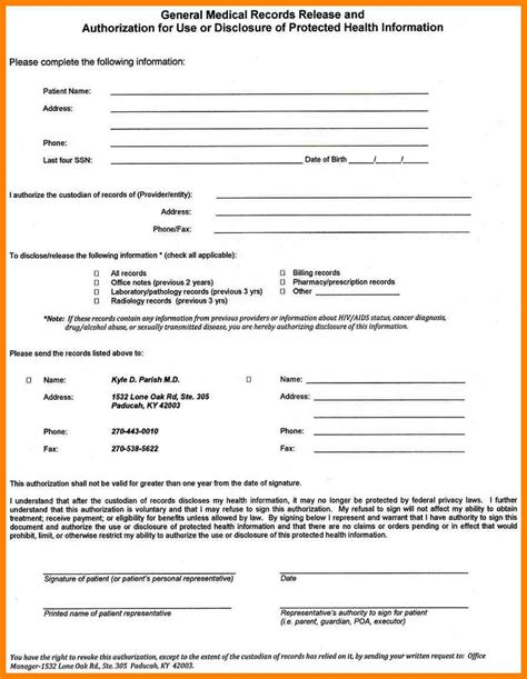 9 blank medical records release form dialysis nurse