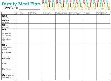 printable planner chart meal planning template beepmunk
