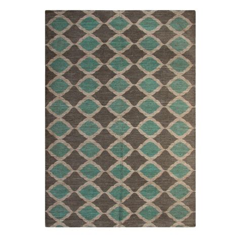 Area Rugs Turquoise Chesapeake Merchandising Turquoise And Taupe 5 Ft X 7 Ft Indoor Area Rug 46820 The Home Depot