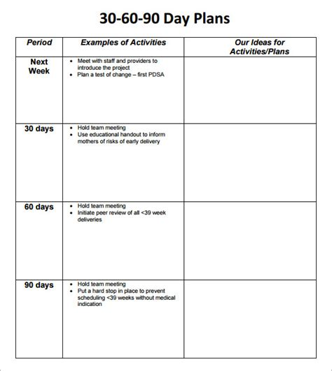 30 60 90 day sales plan template exles 30 60 90 day plan template 8 free documents in pdf