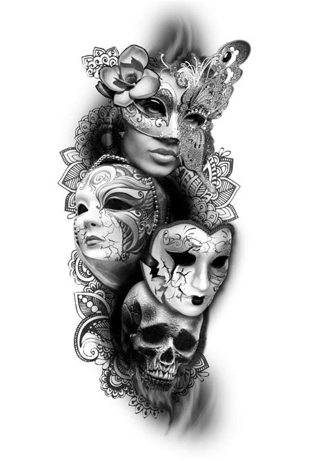 2 face tattoo design two mask elaxsir