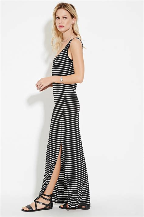 60720 Moschino Maxy Spandek forever 21 striped high slit maxi dress in white lyst