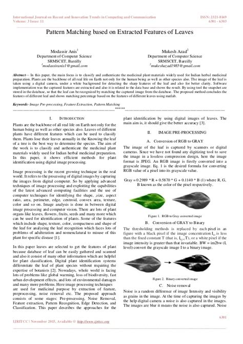 pattern matching journal pattern matching based on extracted features of leaves