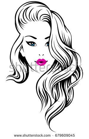 curly hair vector tutorial young beautiful girl curly hair illustration stock vector