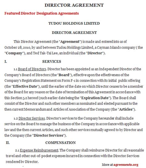 director contract template director agreement sle director agreement template