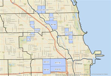 chicago map in r chicago neighbors with greatest income disparities