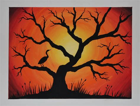 acrylic paint lifting canvas acrylic silhouette painting on canvas quot cranes sunset
