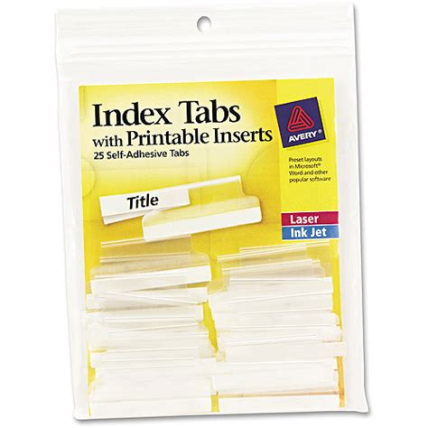 Avery Tab Inserts Template by Avery Self Adhesive Tabs With Printable Inserts 1 1 2
