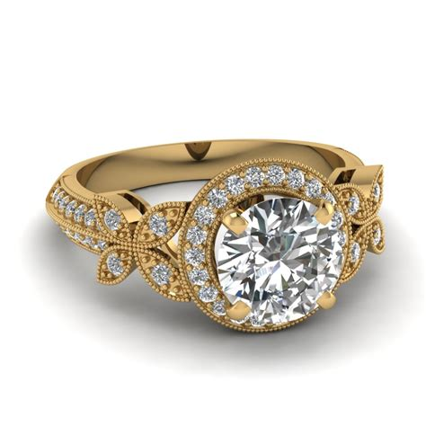 beautiful 14k yellow gold halo engagement rings