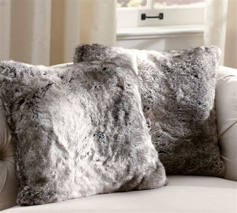 faux fur pillow faux fur pillow cover gray ombre pottery barn