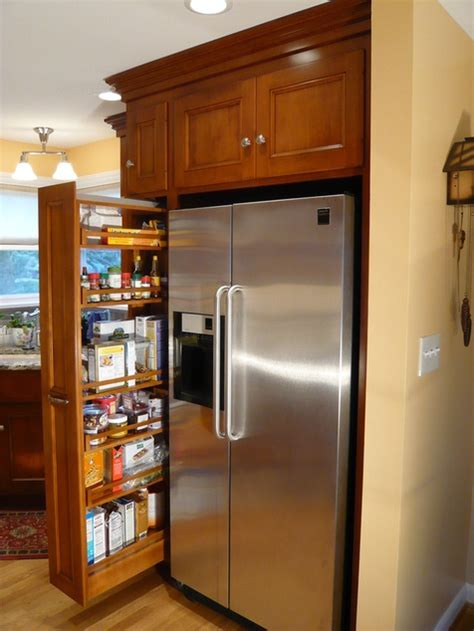 skinny kitchen cabinet skinny slide out drawer next to fridge cabinet it