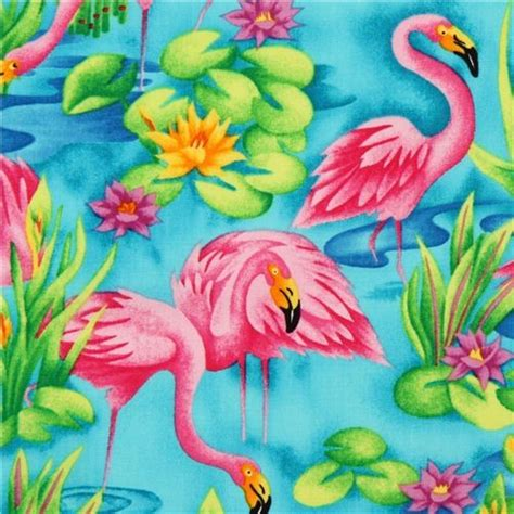 Flamingo Quilt Fabric by Turquoise Flamingo Animal Fabric By Timeless Treasures