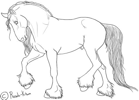 draft stallion lineart by rosela kitsuna on deviantart