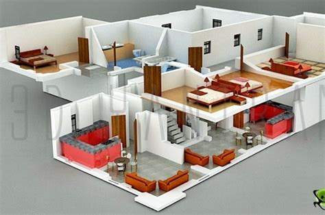 3d home design inside interior plan houses 3d section plan 3d interior design