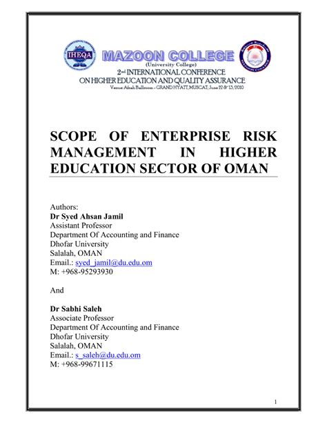 Mba In Higher Education And Research Management by Scope Of Enterprise Risk Management In Pdf