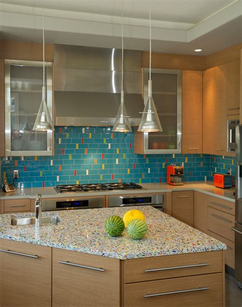 recycled glass backsplashes for kitchens impressive recycled glass countertops decorating ideas