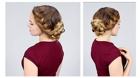 hairstyles kayley melissa quick braided updo for back to school youtube