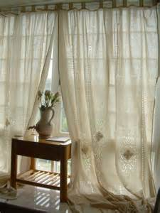 Cotton Lace Curtains Tab Top Country Cotton Linen Crochet Lace Curtain Panel 001 Ebay