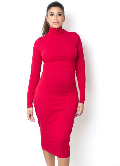 Dress Turtle V Neck turtle neck midi dress talking with tami