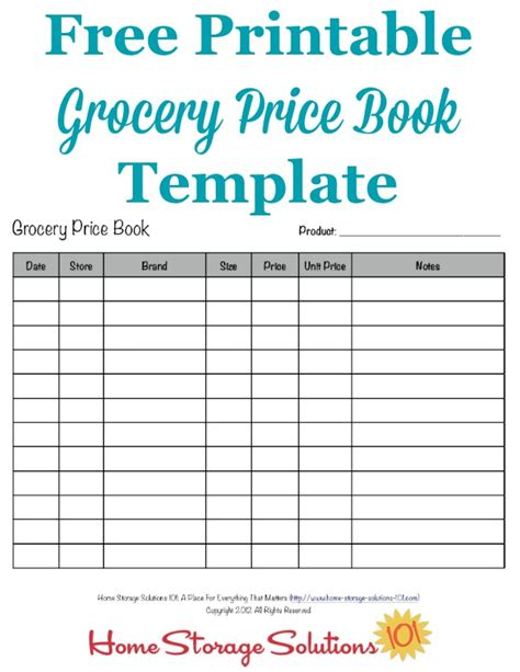price comparison template grocery price book use it to compare grocery prices in