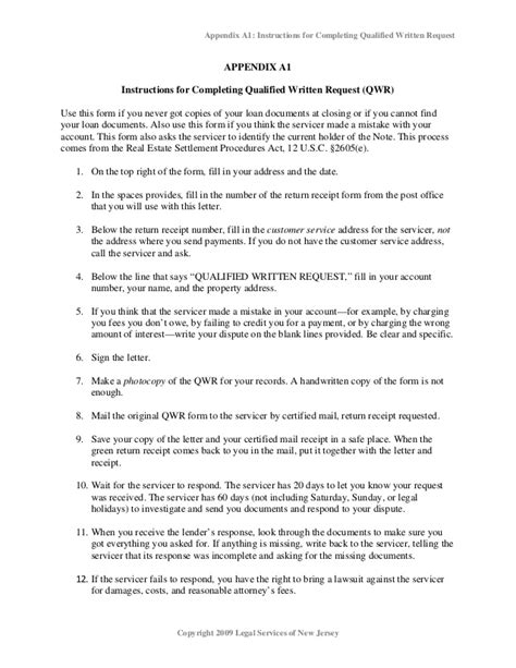 Qwr Response Letter foreclosure