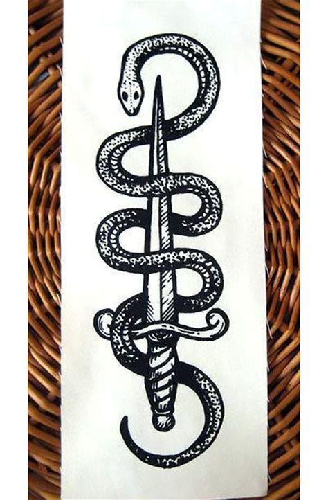 black snake and dagger tattoo design
