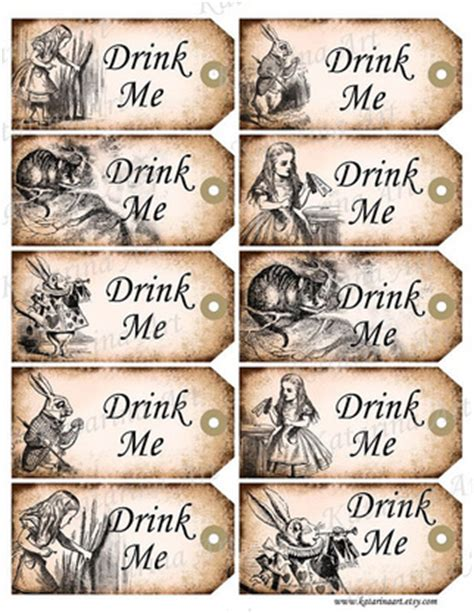 alice in wonderland tags template in drink me tags