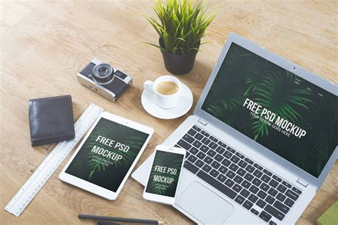 free desk phone desk mockupworld