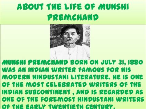 premchand biography in english powerpoint on life of munshi premchand